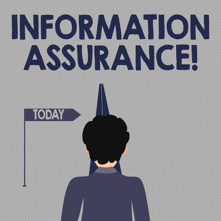 Writing note showing Information Assurance. Business concept for the process of protecting information from being seen Man Facing Distance and Blocking the View of Straight Narrow Path
