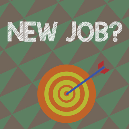 Writing note showing New Job Question. Business concept for formal meeting which someone asked find out if they are suitable Dart Board in Concentric Style with Arrow Hitting the Center Bulls Eye 写真素材