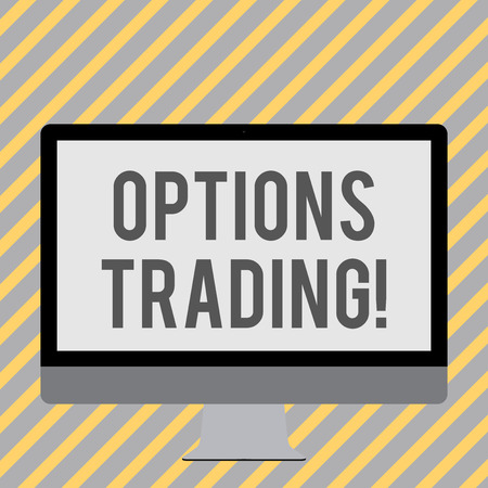 Conceptual hand writing showing Options Trading. Concept meaning seller gives buyer right but not obligation buy sell shares White Computer Monitor WideScreen on a Stand for Technology Stock Photo