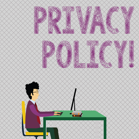 Conceptual hand writing showing Privacy Policy. Concept meaning statement or legal document that discloses ways party gathers Businessman Sitting on Chair Working on Computer and Books Stock Photo