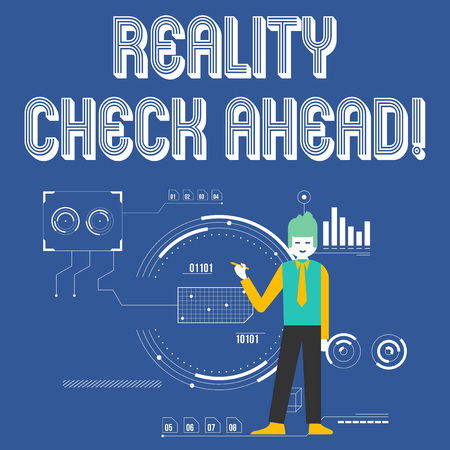 Handwriting text Reality Check Ahead. Conceptual photo makes them recognize truth about situations or difficulties Man Standing Holding Pen Pointing to Chart Diagram with SEO Process Icons