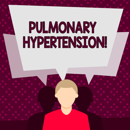 Word writing text Pulmonary Hypertension. Business photo showcasing Elevated pressure in the pulmonary circulation Faceless Man has Two Shadows Each has Their Own Speech Bubble Overlapping Foto de archivo - 121144211