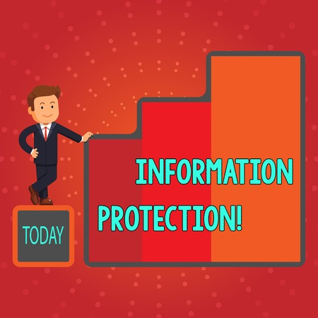 Writing note showing Information Protection. Business concept for Safeguard vital information from corruption or loss Businessman Presenting Growth and Success in Graph Columns