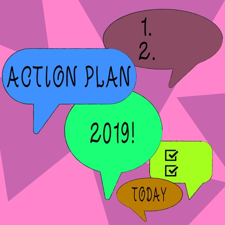 Word writing text Action Plan 2019. Business photo showcasing proposed strategy or course of actions for current year Many Color Speech Bubble in Different Sizes and Shade for Group Discussion Banque d'images