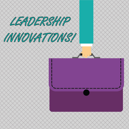 Conceptual hand writing showing Leadership Innovations. Concept meaning Style to impact employees to produce creative ideas Businessman Carrying Colorful Briefcase Portfolio Applique Banco de Imagens