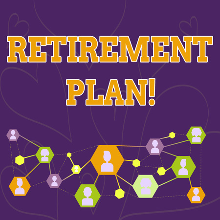 Text sign showing Retirement Plan. Business photo showcasing income goals actions and decisions necessary achieve goals Online Chat Head Icons with Avatar and Connecting Lines for Networking Idea