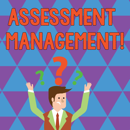Writing note showing Assessment Management. Business concept for analysisagement of investments on behalf of others Businessman Raising Both Arms with Question Marks Above Head