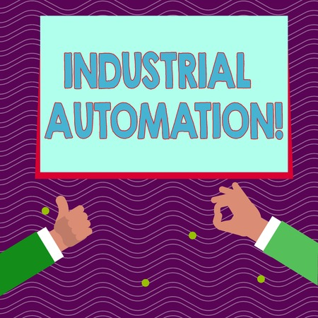 Text sign showing Industrial Automation. Business photo text Use of control systems to handle industrial process Two Businessmen Hands Gesturing the Thumbs Up and Okay Sign for Promotion
