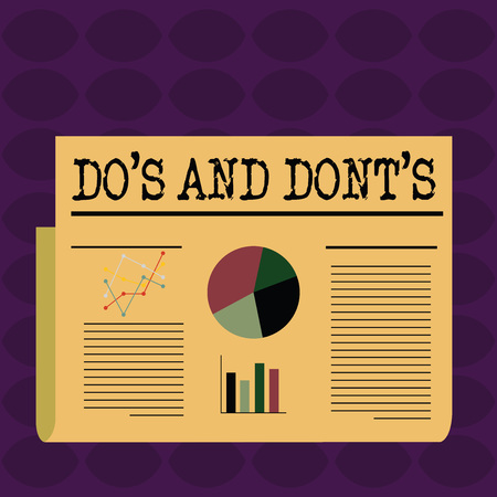 Text sign showing Do S And Dont S. Business photo showcasing advising Rules or customs concerning some activity Colorful Layout Design Plan of Text Line, Bar, Linear and Pie Chart Diagram Stock fotó