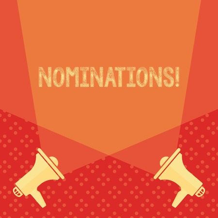 Word writing text Nominations. Business photo showcasing action of nominating or state being nominated for prize Blank Double Spotlight Crisscrossing Upward from Two Megaphones on the Floor