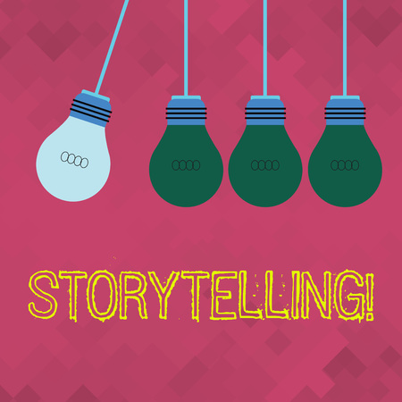 Text sign showing Storytelling. Business photo showcasing activity writing stories for publishing them to public Color Incandescent Pendant Bulb Hanging with One Different Shade Lightbulb