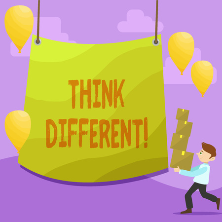 Handwriting text writing Think Different. Conceptual photo direct ones mind towards someone or something uniquely Man Carrying Pile of Boxes with Blank Tarpaulin in the Center and Balloons Reklamní fotografie