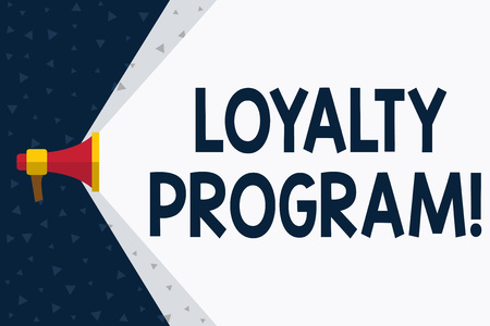 Word writing text Loyalty Program. Business photo showcasing structured marketing provides incentives repeat customers Megaphone Extending the Capacity of Volume Range thru Blank Space Wide Beam