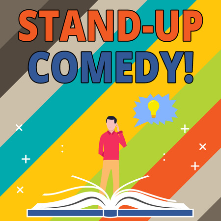 Word writing text Stand Up Comedy. Business photo showcasing comic style in which comedian performs front live audience Man Standing Behind Open Book, Hand on Head, Jagged Speech Bubble with Bulb Banque d'images - 121156912