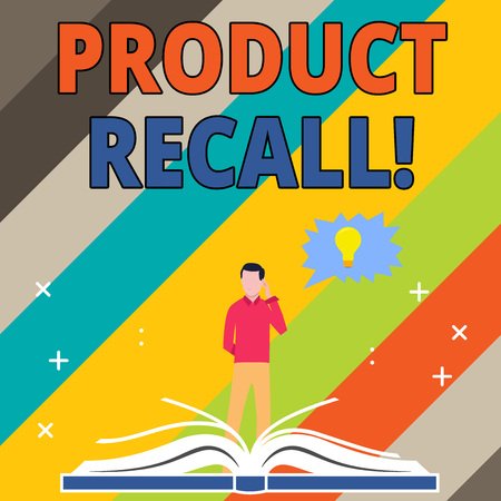 Word writing text Product Recall. Business photo showcasing request analysisufacturer return product after discovery issues Man Standing Behind Open Book, Hand on Head, Jagged Speech Bubble with Bulb 免版税图像