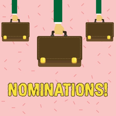 Text sign showing Nominations. Business photo showcasing action of nominating or state being nominated for prize Three Men Hands Carrying Brown Briefcase with Running Stitch Style and Lock