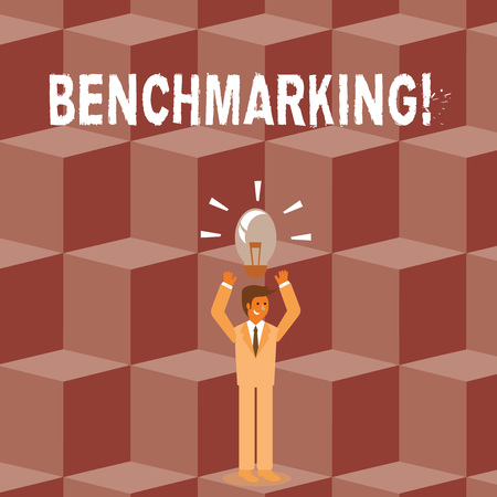 Conceptual hand writing showing Benchmarking. Concept meaning evaluate something by comparison with standard or scores Businessman Raising Arms Upward with Lighted Bulb icon above