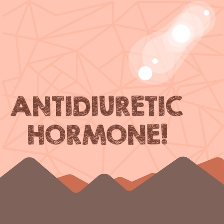 Writing note showing Antidiuretic Hormone. Business concept for peptide molecule that is release by the pituitary gland View of Colorful Mountains and Hills Lunar and Solar Eclipse Imagens