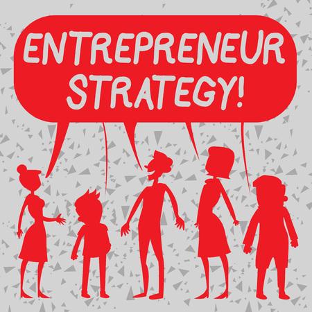 Wort schreiben Text Unternehmerstrategie. Geschäftsfoto, auf dem ein Wettbewerbsvorteil aufgebaut und aufrechterhalten wird Silhouette Figur von Menschen, die eine bunte Sprechblase sprechen und teilen Standard-Bild