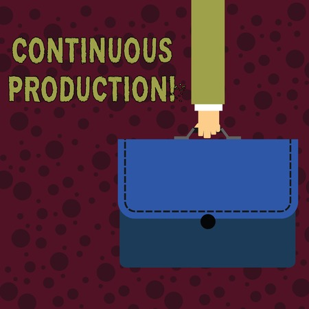 Conceptual hand writing showing Continuous Production. Concept meaning Manufacture or produce materials without interruption Businessman Carrying Colorful Briefcase Portfolio Applique