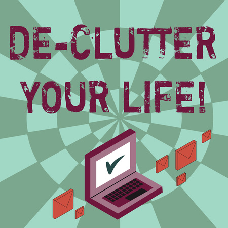 Writing note showing De Clutter Your Life. Business concept for remove unnecessary items from untidy or overcrowded places Mail Envelopes around Laptop with Check Mark icon on Monitor