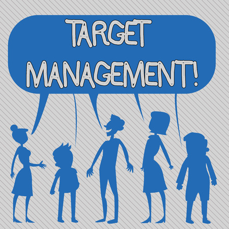 Text sign showing Target Analysisagement. Business photo showcasing Market Segmentation Audience targeting and selection Silhouette Figure of People Talking and Sharing One Colorful Speech Bubble