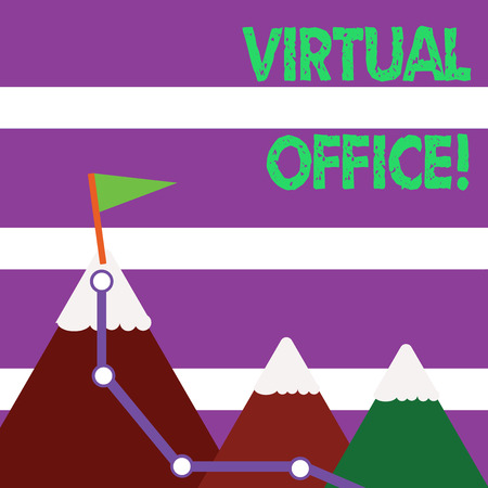 Word writing text Virtual Office. Business photo showcasing part of flexible workspace industry without any fixed place Three Mountains with Hiking Trail and White Snowy Top with Flag on One Peak