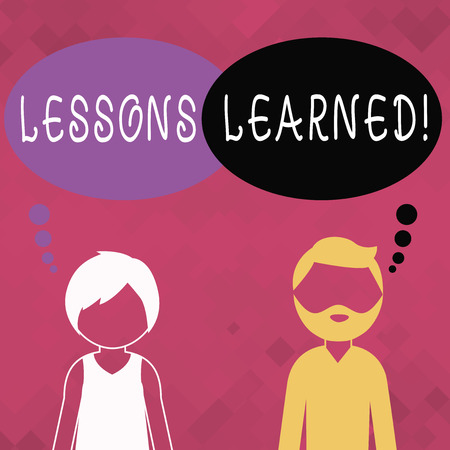 Word writing text Lessons Learned. Business photo showcasing learning gained from process of performing project Bearded Man and Woman Faceless Profile with Blank Colorful Thought Bubble