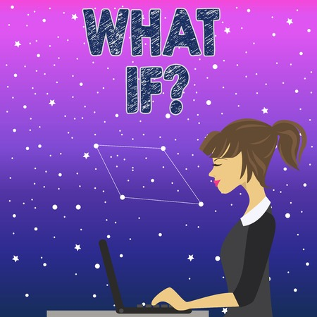 Handwriting text What If Question. Conceptual photo when you are asking about condition or supposition photo of Young Busy Woman Sitting Side View and Working on her Laptop