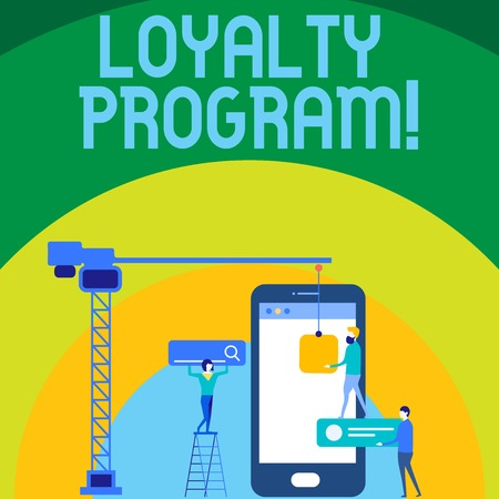Conceptual hand writing showing Loyalty Program. Concept meaning structured marketing provides incentives repeat customers Staff Working Together for Target Goal with SEO Process Icons