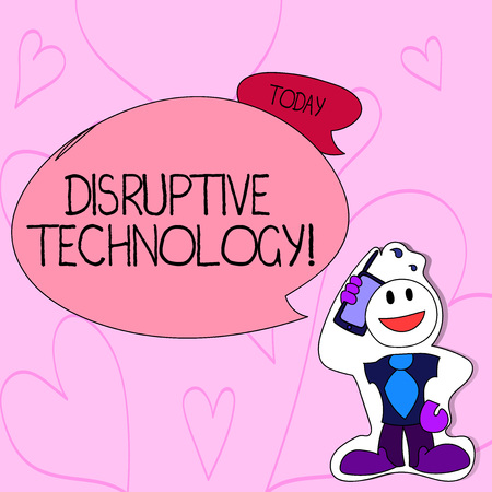 Text sign showing Disruptive Technology. Business photo text one that displaces an established technology Smiley Face Man in Necktie Holding Smartphone to his Head in Sticker Style Stock Photo