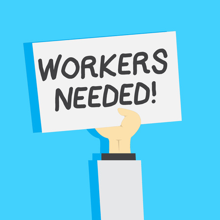 Handwriting text writing Workers Needed. Conceptual photo Someone who is employed by agency work another company Clipart of Hand Holding Up Blank Sheet of White Paper on Pastel Backdrop