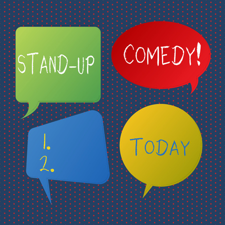 Handwriting text writing Stand Up Comedy. Conceptual photo comic style in which comedian performs front live audience Blank Speech Bubble Sticker in Different Shapes and Color for Multiple Chat Banque d'images - 121157062