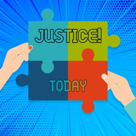 Writing note showing Justice. Business concept for impartial adjustment of conflicting claims or assignments Multi Color Jigsaw Puzzle Pieces Put Together by Human Hands