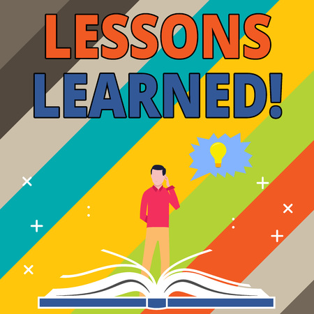 Word writing text Lessons Learned. Business photo showcasing learning gained from process of performing project Man Standing Behind Open Book, Hand on Head, Jagged Speech Bubble with Bulb