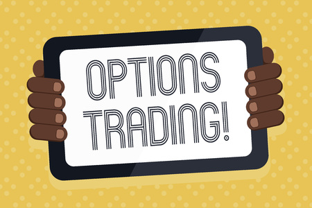 Word writing text Options Trading. Business photo showcasing seller gives buyer right but not obligation buy sell shares Color Tablet Smartphone with Blank Screen Handheld from the Back of Gadget Stock Photo