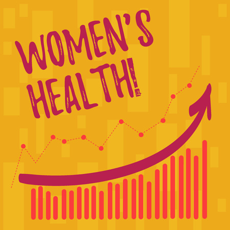 Text sign showing Women S Health. Business photo showcasing Chronic diseases conditions as heart disease cancer diabetes Combination of Colorful Column and Line Graphic Chart with Arrow Going Up