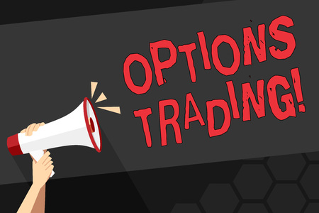 Text sign showing Options Trading. Business photo showcasing seller gives buyer right but not obligation buy sell shares Human Hand Holding Tightly a Megaphone with Sound Icon and Blank Text Space