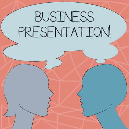 Conceptual hand writing showing Business Presentation. Concept meaning Demonstration or to present a new idea or product Silhouette Sideview Profile of Man and Woman Thought Bubble