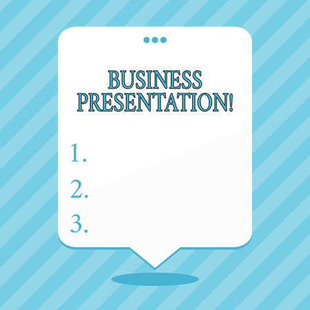 Word writing text Business Presentation. Business photo showcasing Demonstration or to present a new idea or product Blank Space White Speech Balloon Floating with Three Punched Holes on Top
