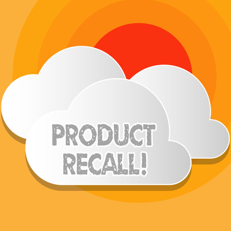 Writing note showing Product Recall. Business concept for request analysisufacturer return product after discovery issues White Clouds Cut Out of Board Floating on Top of Each Other