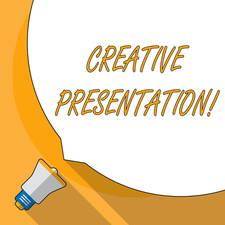 Conceptual hand writing showing Creative Presentation. Concept meaning process of presenting a topic to an audience White Speech Bubble Occupying Half of Screen and Megaphone Banco de Imagens