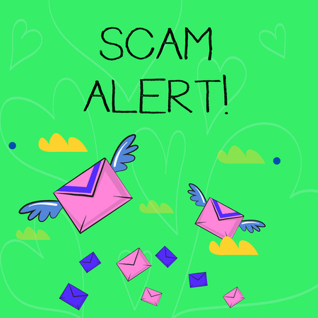 Conceptual hand writing showing Scam Alert. Concept meaning fraudulently obtain money from victim by persuading him Colorful Airmail Letter Envelopes and Two of Them with Wings