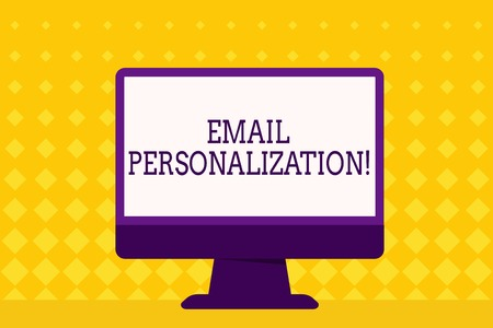 Text sign showing Email Personalization. Business photo showcasing allows to insert demonstratingal data into the email template Blank Space Desktop Computer Colorful Monitor Screen Freestanding on Table Banque d'images - 121158424