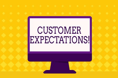Text sign showing Customer Expectations. Business photo showcasing Perceivedvalue clients seek from the buying of a good Blank Space Desktop Computer Colorful Monitor Screen Freestanding on Table