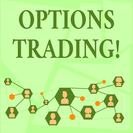 Writing note showing Options Trading. Business concept for seller gives buyer right but not obligation buy sell shares Chat icons with Avatar Connecting Lines for Networking Idea