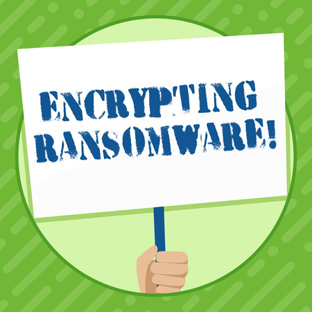 Writing note showing Encrypting Ransomware. Business concept for malware that limits users from accessing their system Hand Holding White Placard Supported for Social Awareness