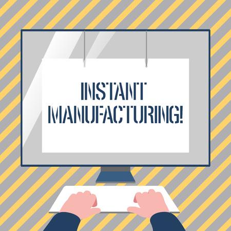 Escribir nota que muestra la fabricación instantánea. Concepto de negocio para máquinas que fabrican productos directamente desde archivos digitales Manos en el teclado Monitor blanco frontal con protector de pantalla