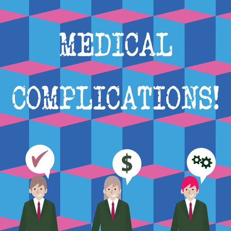 Writing note showing Medical Complications. Business concept for unfavorable evolution or consequence of a disease Businessmen has Speech Bubble with Optimization Cost Icons Imagens