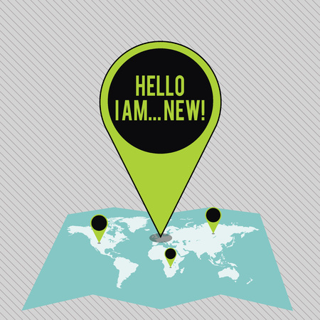 Text sign showing Hello I Am New. Business photo showcasing used as greeting or to begin telephone conversation Colorful Huge Location Marker Pin Pointing to an Area or GPS Address on Map Banco de Imagens